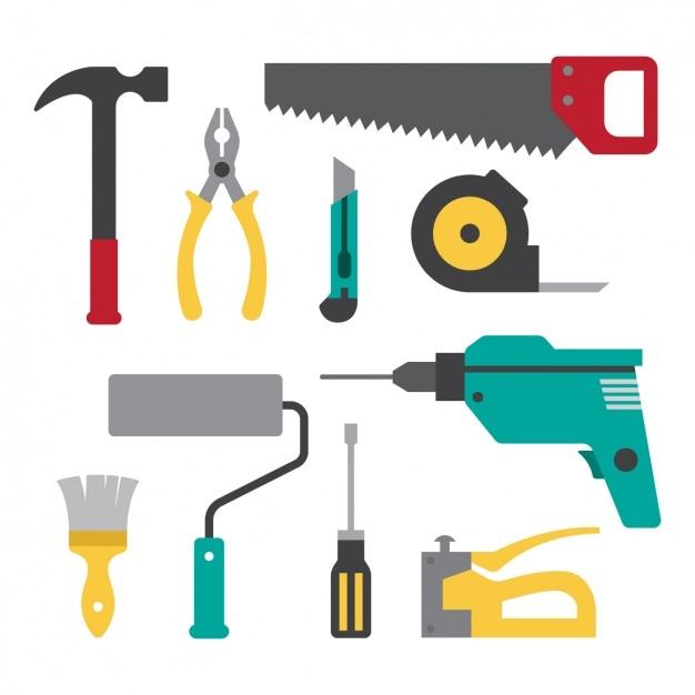 Coleção ferramentas planas Vetor grátis