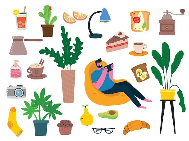 Coleção ficar em casa, atividades internas, conceito de conforto e aconchego, conjunto de ilustrações vetoriais isoladas, estilo higge escandinavo, período de isolamento em casa no estilo plano Vetor Premium