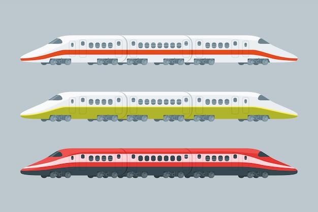 Coleção flat modern high-speed trains Vetor grátis