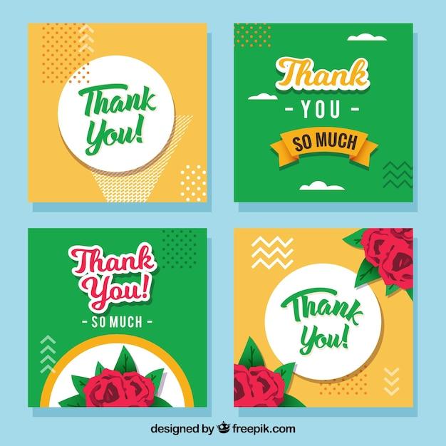 Coleção floral de cartões de agradecimento Vetor grátis