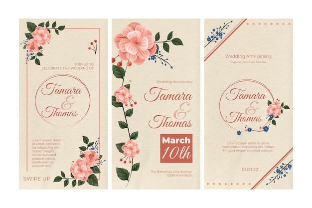 Coleção floral de histórias do instagram de casamento Vetor Premium