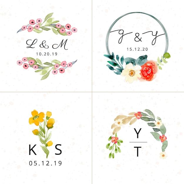 Coleção floral do monograma do casamento da aguarela Vetor Premium