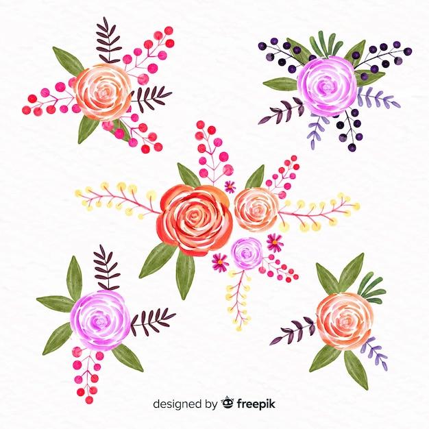 Coleção floral estilo aquarela Vetor grátis