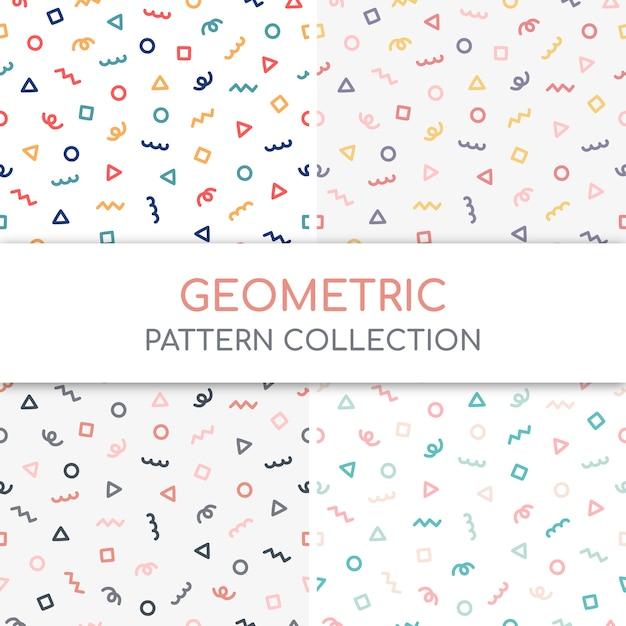 Coleção fofo padrão geométrico. Vetor Premium