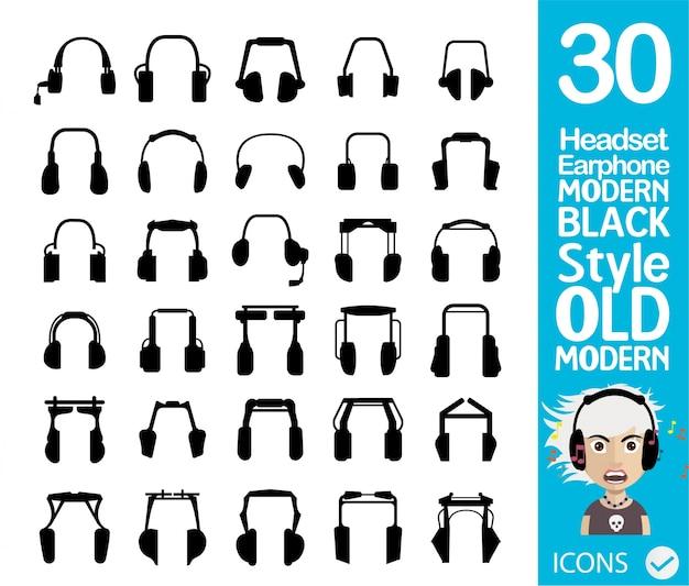 Coleção fone de ouvido preto Vetor grátis