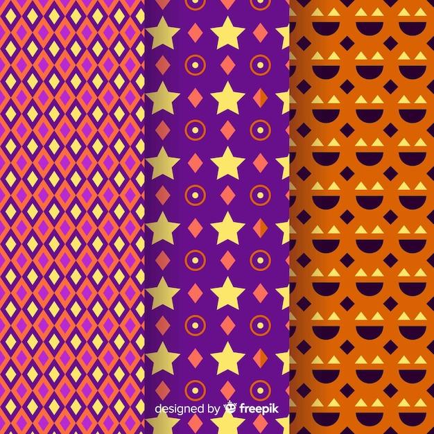 Coleção geométrica de padrão de halloween Vetor grátis