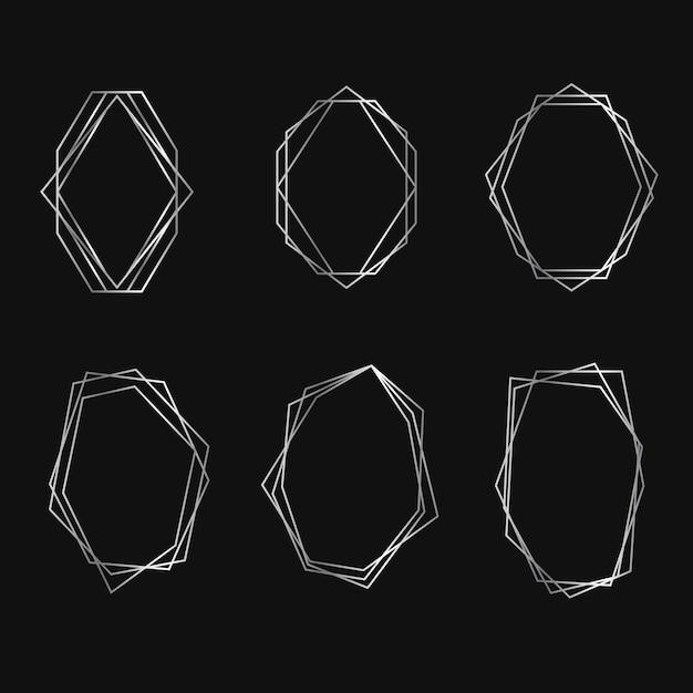 Coleção geométrica moldura de prata Vetor grátis
