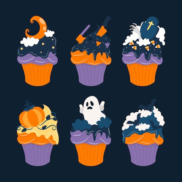 Coleção halloween sweet cupcake Vetor Premium