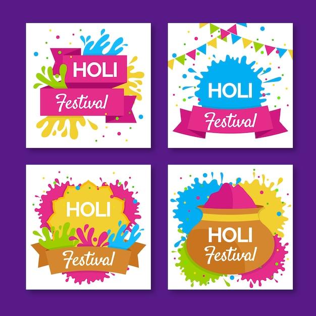 Coleção holi festival instagram post Vetor grátis