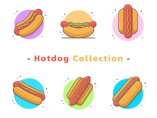 Coleção hotdog fast food Vetor Premium