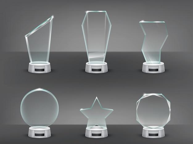 Coleção ilustração vetorial de troféus de vidro modernos, prêmios Vetor grátis