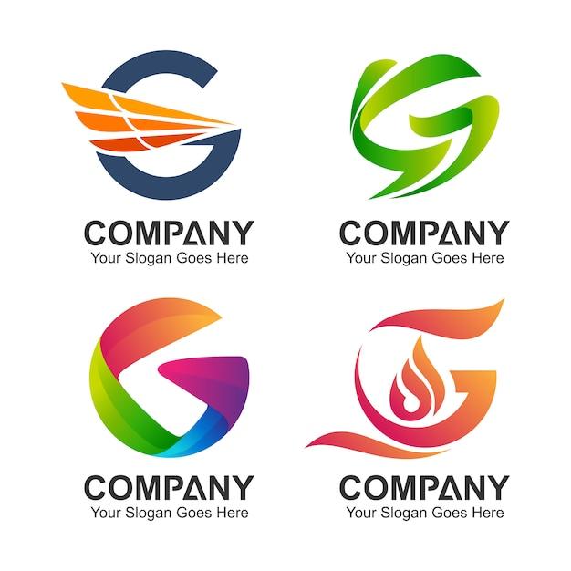 Coleção inicial do logotipo da letra g Vetor Premium