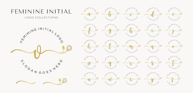 Coleção inicial feminina de logotipos Vetor Premium