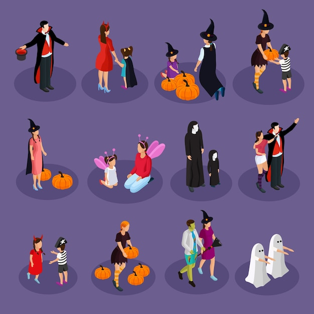 Coleção isométrica de feriado de halloween com pessoas usando chapéus e fantasias de vampiro bruxa fantasma fada diabo isolado Vetor grátis