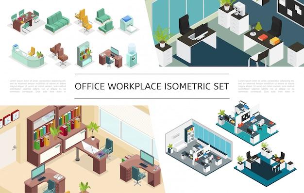 Coleção isométrica de interiores de escritórios com variações de locais de trabalho móveis estante impressora computador máquina de café refrigerador de água plantas lâmpadas relógios Vetor grátis
