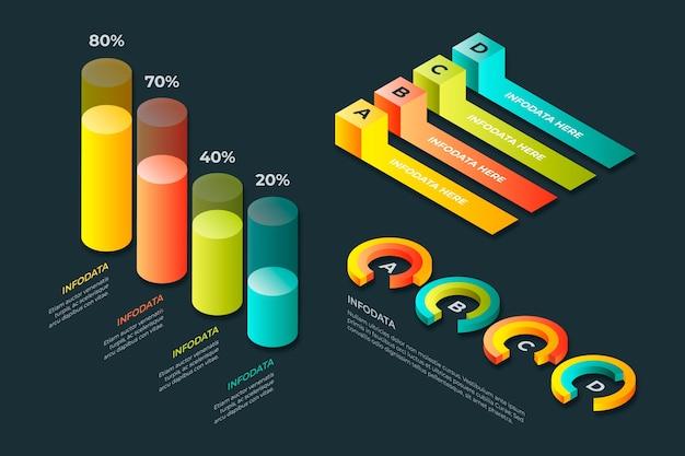 Coleção isométrica infográfico Vetor grátis