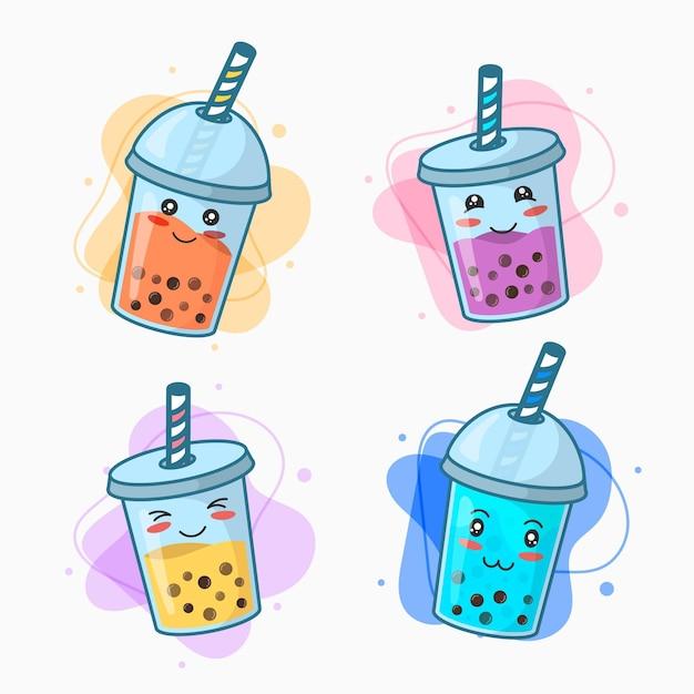 Coleção kawaii bubble tea Vetor Premium