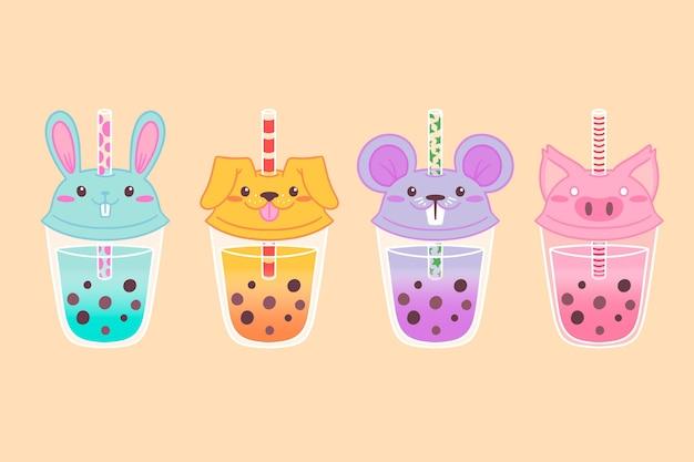 Coleção kawaii bubble tea Vetor grátis