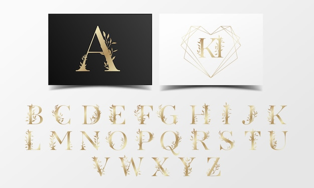 Coleção linda alfabeto dourado Vetor grátis