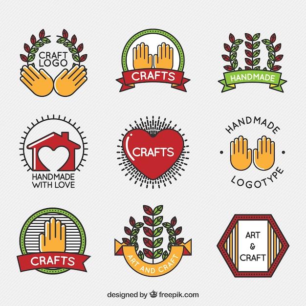 Coleção logos de artesanato Vetor grátis