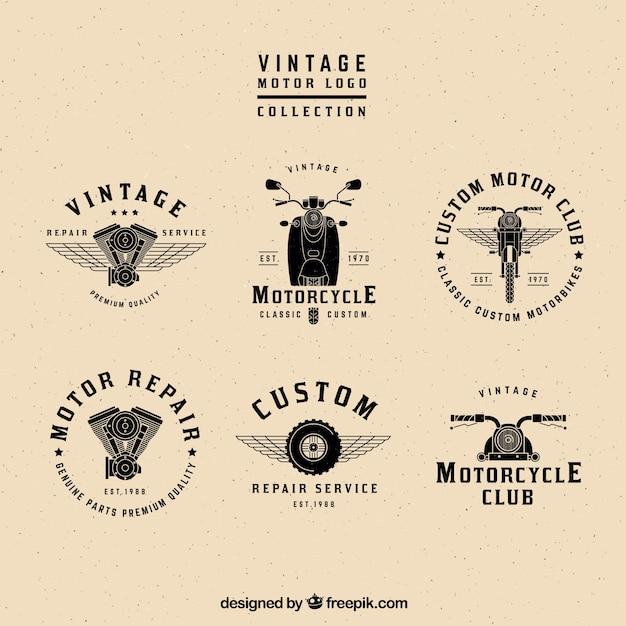 Coleção logos motores vintage Vetor grátis