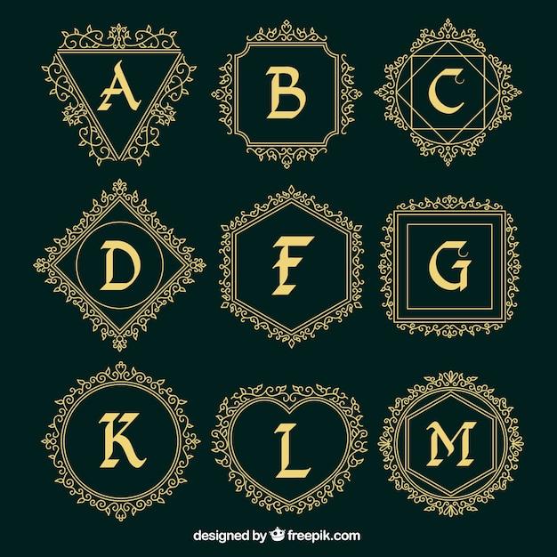 f826a6184 Coleção logos ornamental de letras maiúsculas Vetor grátis