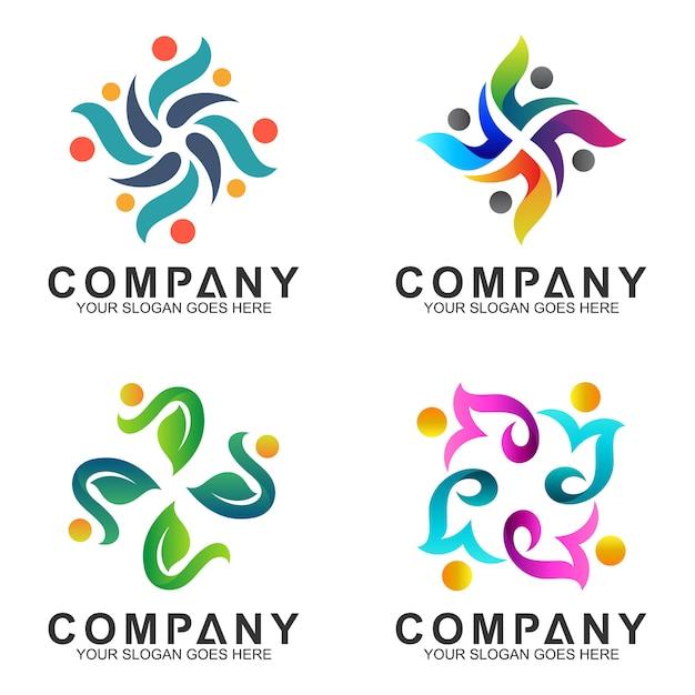 Coleção logotipo abstrato Vetor Premium