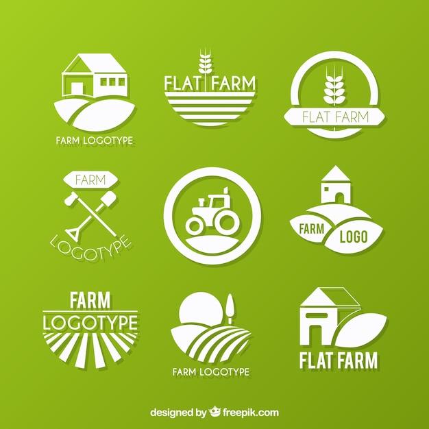 Coleção logotipo fazenda ecológica Vetor Premium