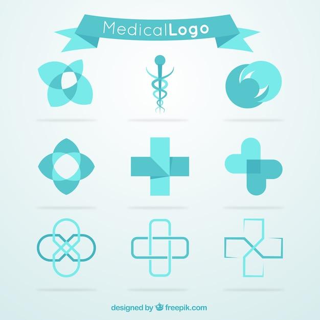 Coleção logotipo médico azul Vetor Premium