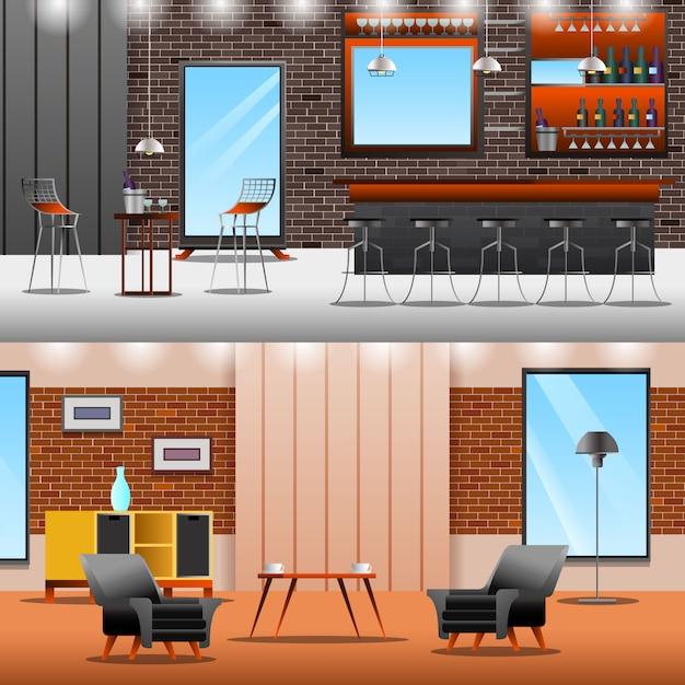 Coleção lounge loft banners Vetor grátis