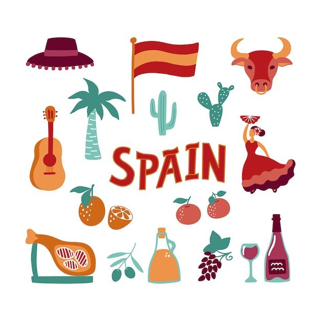 Coleção mão desenhados símbolos da espanha. Vetor Premium