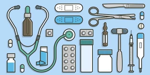 Coleção médica no conceito de design plano. Vetor Premium