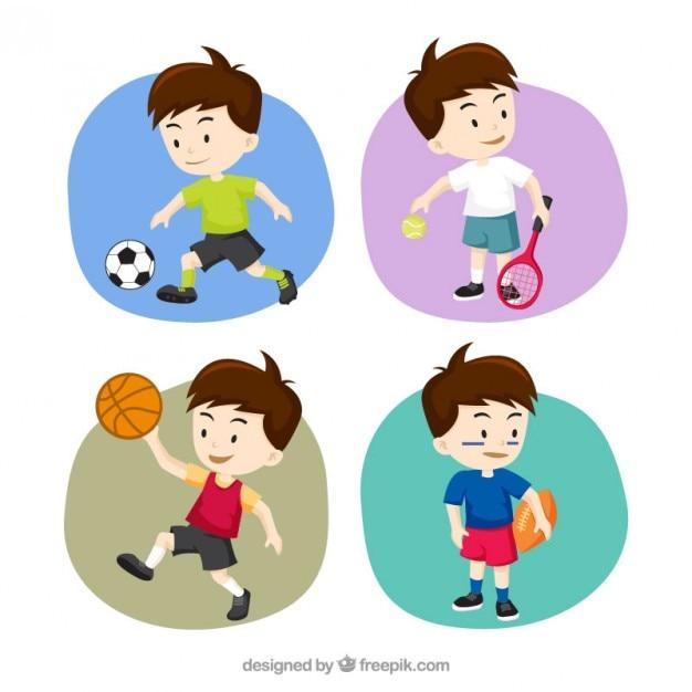 Coleção menino desportivo Vetor grátis