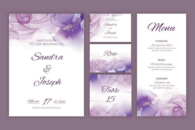 Coleção mínima de artigos de papelaria para casamento Vetor grátis