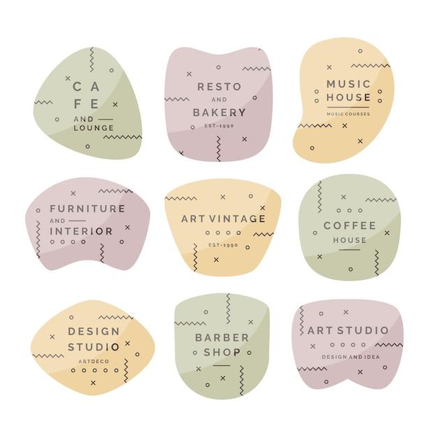 Coleção mínima de logotipo com cores pastel Vetor grátis