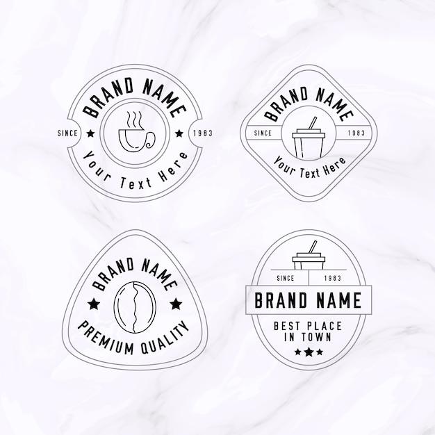 Coleção mínima de logotipo em fundo de mármore Vetor grátis