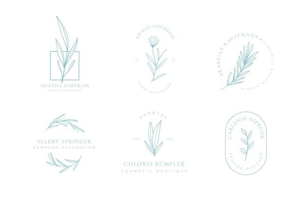 Coleção minimalista de logotipo floral Vetor grátis