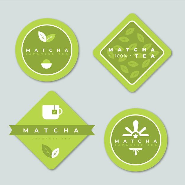 Coleção minimalista verde de saquinhos de chá matcha Vetor grátis