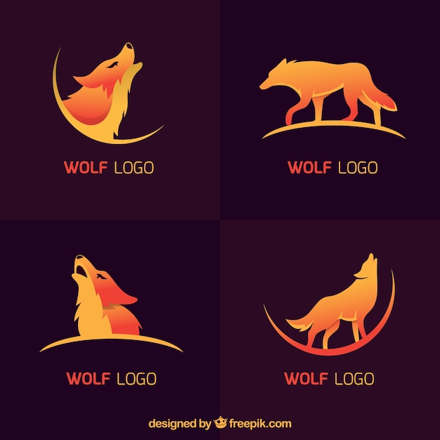 Coleção moderna do logotipo do lobo Vetor grátis