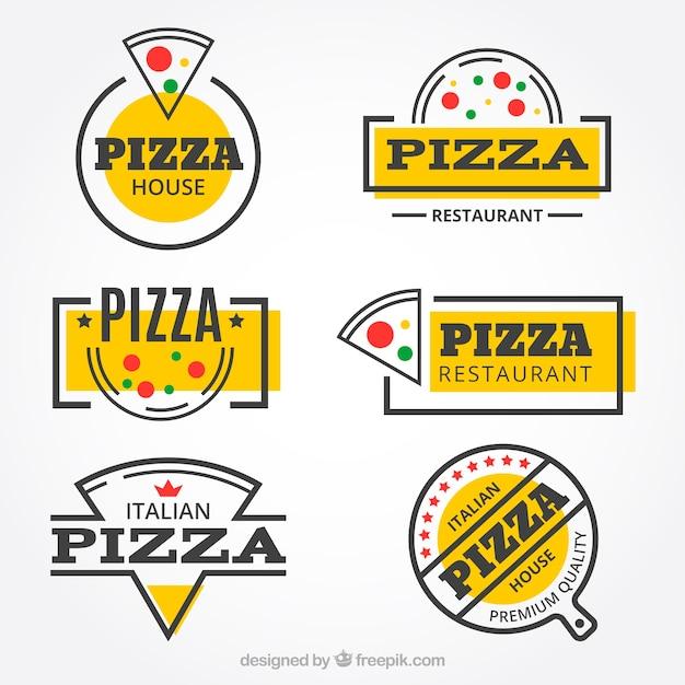 Coleção moderna do logotipo do restaurante de pizza Vetor Premium