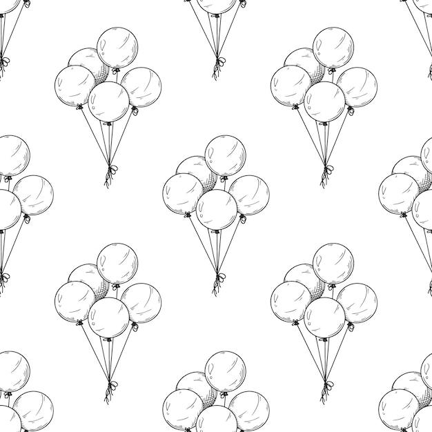 Coleção monocromática de padrão sem emenda de balões Vetor Premium