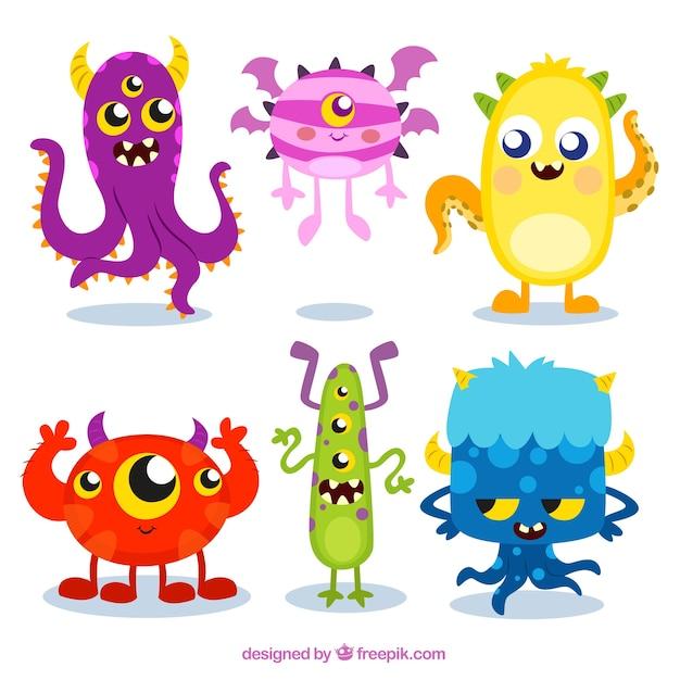 Cole o monstro coloridos baixar vetores gr tis - Images de monstres rigolos ...