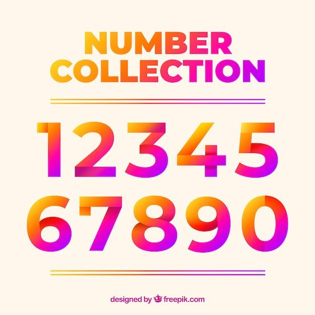 Coleção número colorida com design plano Vetor grátis