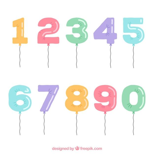 Coleção número com estilo de balão Vetor grátis