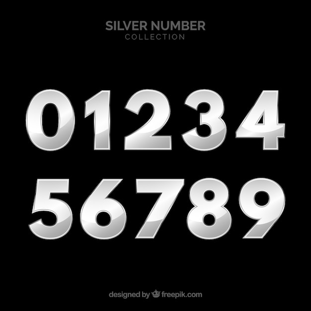 Coleção número com estilo de prata Vetor grátis