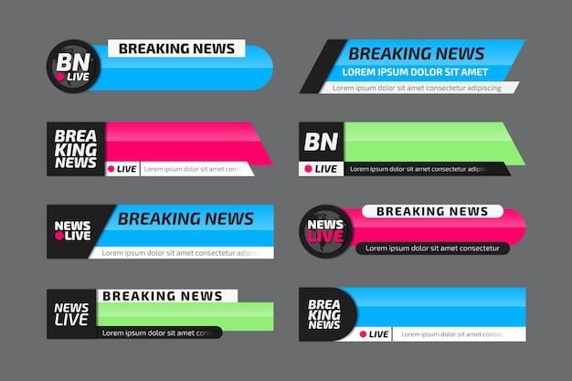 Coleção oficial de banner de notícias de última hora Vetor Premium
