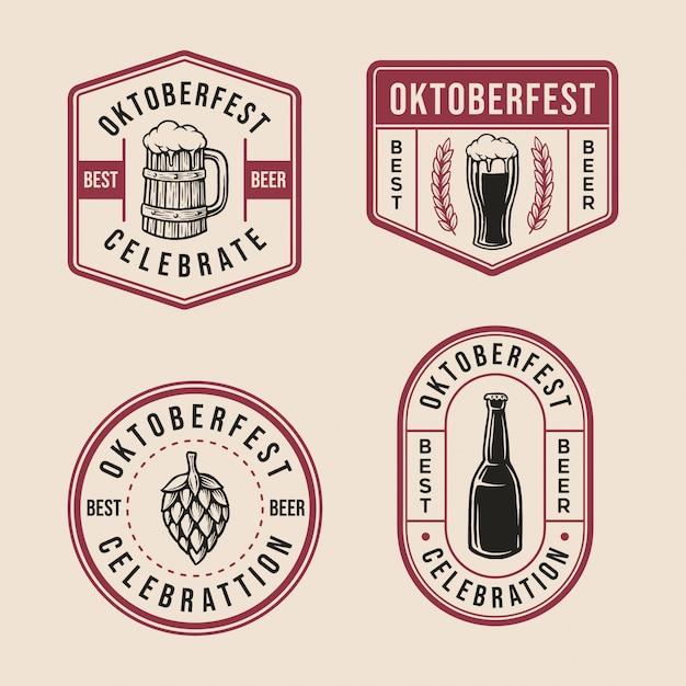 Coleção oktoberfest badge logo Vetor Premium