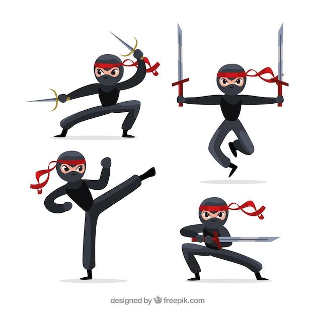 Coleção original de personagens ninja com design plano Vetor grátis
