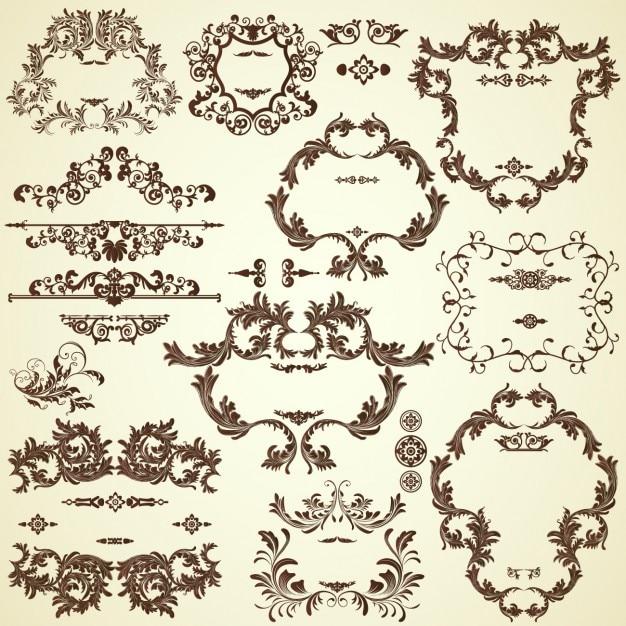 Coleção ornamentos decorativos Vetor grátis
