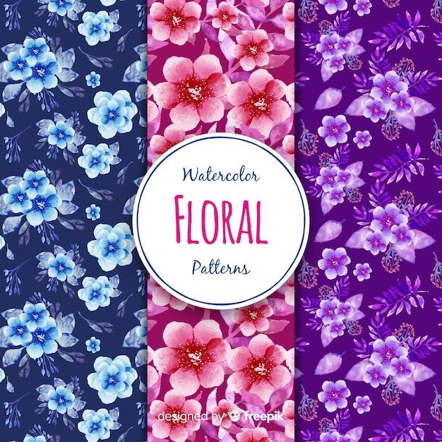 Coleção padrão de flor Vetor grátis
